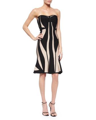 Strapless Geometric Bandage Flounce-Hem Dress