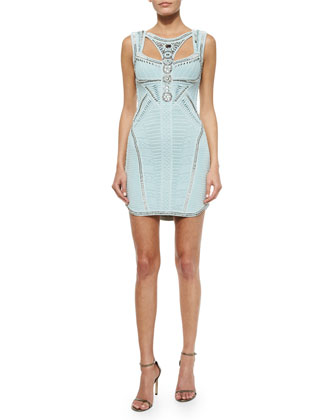 Beaded Cutout Crochet Knit Dress