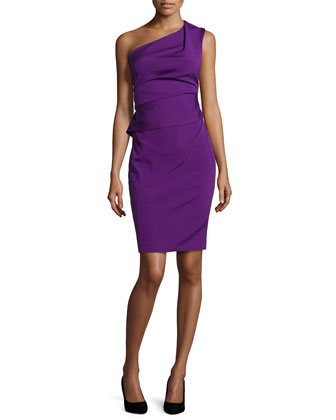 One-Shoulder Asymmetric Peplum Dress, Iris