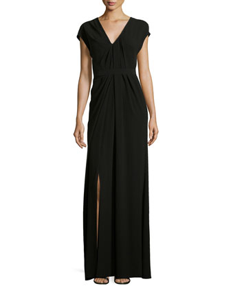 Cap-Sleeve V-Neck Ruched Gown, Black