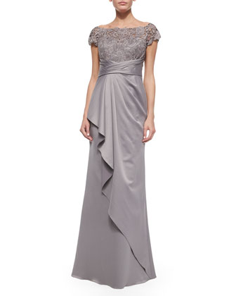Short-Sleeve Lace-Bodice Drape-Skirt Gown
