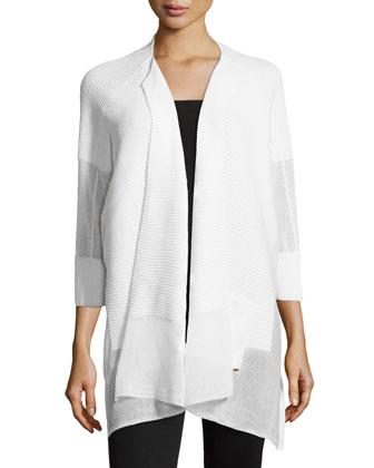 Three-Quarter-Sleeve Ribbed Cardigan, White