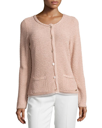 Round-Neck Long-Sleeve Metallic Cardigan, Desert Rose