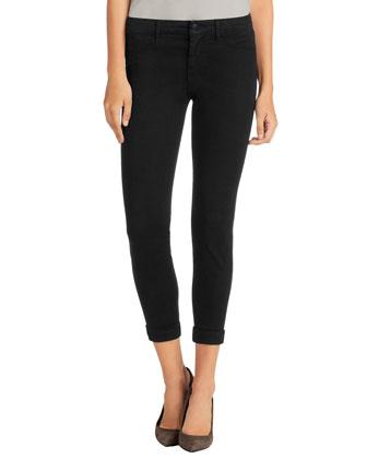 Anja Luxe Sateen Cropped Pants, Black