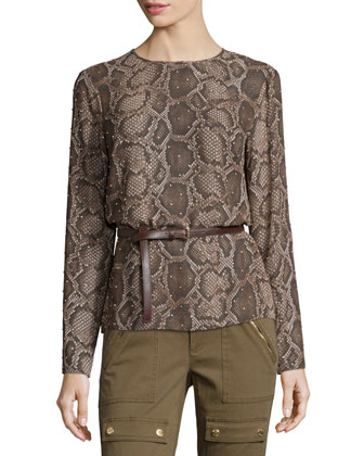 Columbia Embellished Python-Print Top