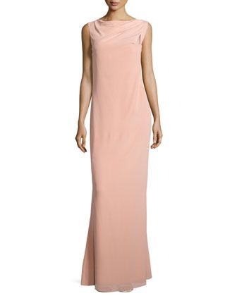 Sleeveless Draped-Neckline Gown, Bellini
