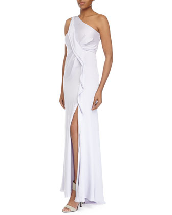 One-Shoulder Asymmetric Ruffle Gown, Lotus