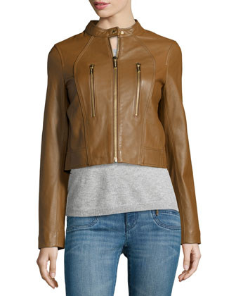 Paneled Lambskin Leather Jacket