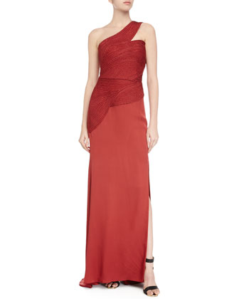 One-Shoulder Braided-Bodice Gown, Vermillion