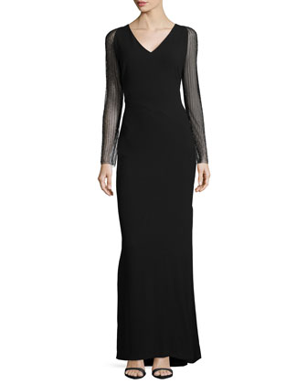 Sheer-Sleeve V-Neck Gown, Black