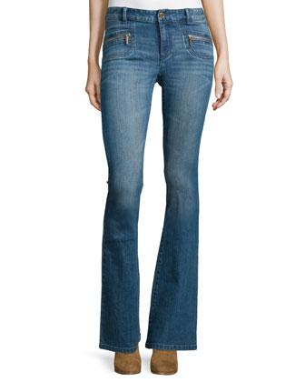 Paneled Lambskin Leather Jacket & High-Waist Flare-Leg Denim Jeans