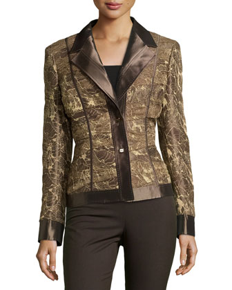 Long-Sleeve Metallic Jacket, Oak