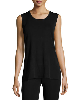 Round Sleeveless Tank, Black