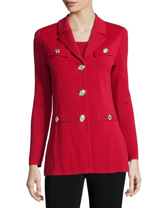 Dressed Up Button-Front Jacket, Petite