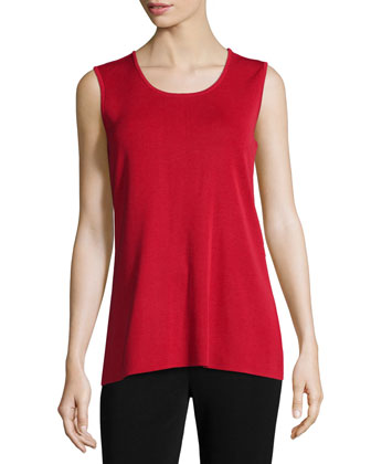 Round Sleeveless Tank, Red, Petite