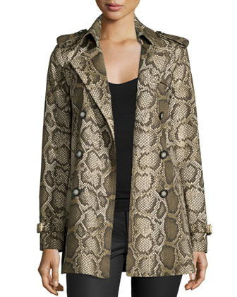 Hip-Length Python-Print Trenchcoat