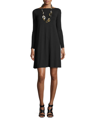 Washable Wool Long Snap Jacket & Long-Sleeve A-line Dress, Petite