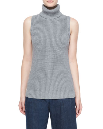 Sleeveless Shaker-Knit Turtleneck