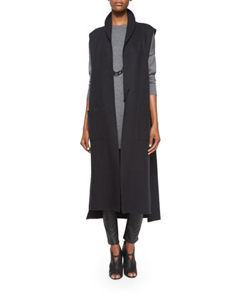 Boiled Cotton/Wool Long Kimono Vest, Merino Jersey Icon Tunic & Ponte ...