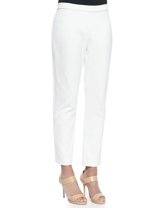Ponte Slim Ankle Pants, Ivory