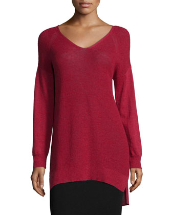 Washable Wool Long V-Neck Top, Women's