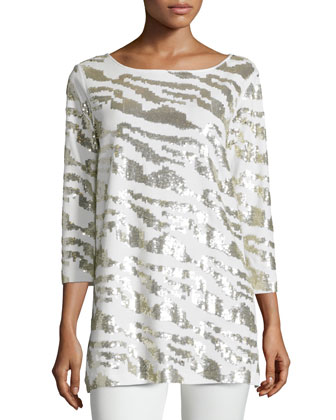 Sequined Animal Tunic, Ivory, Women's