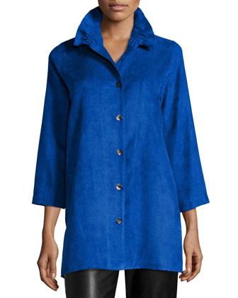Faux-Suede Long Shirt, Women's
