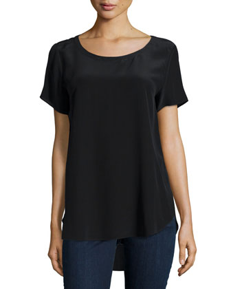 Short-Sleeve Silk High-Low Top