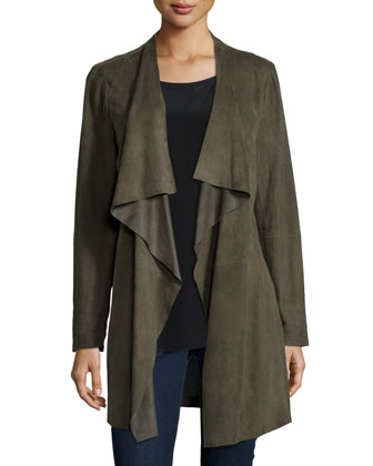 Fisher Project Draped Suede Jacket, Short-Sleeve Silk High-Low Top & ...