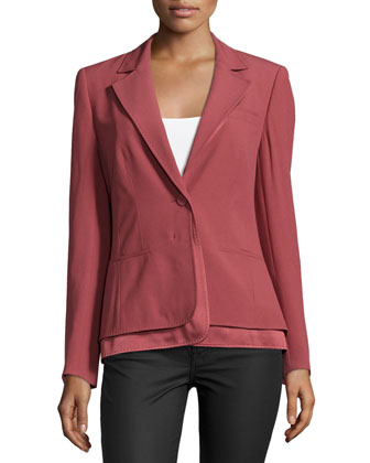 Long-Sleeve Layered-Hem Blazer, Litchi
