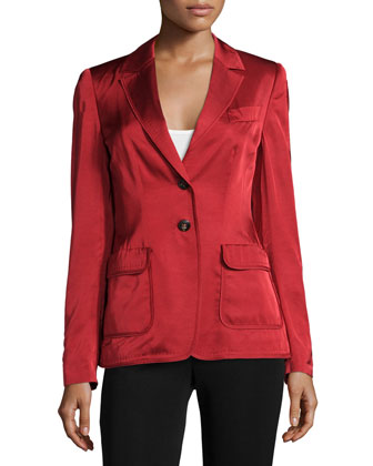 Two-Button Long-Sleeve Blazer, Vermillion