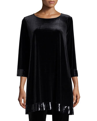 3/4-Sleeve Velour Tunic with Sequined Trim, Women's