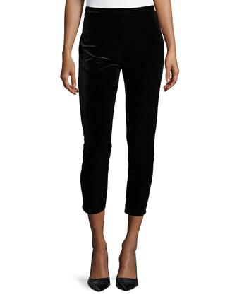 3/4-Sleeve Velour Tunic W/ Zipper Detail & Velour Cropped Leggings, Women's