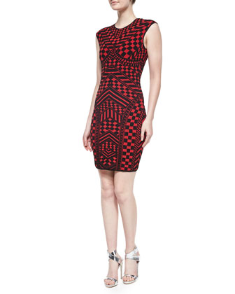 Sleeveless Geometric Sheath Dress, Red/Black