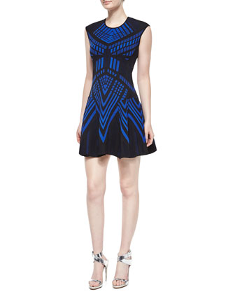 Sleeveless Geometric Fit-and-Flare Dress, Blue/Black