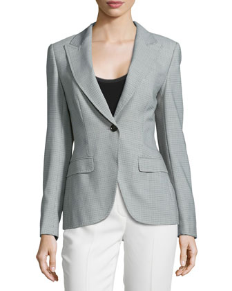 Long-Sleeve Woven Blazer, Smaraged