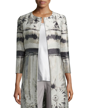 Louanna 3/4-Sleeve Floral Jacquard Topper Jacket, Charmeuse Silk Bias Tank ...