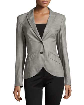 Two-Button Cutaway Blazer, Black