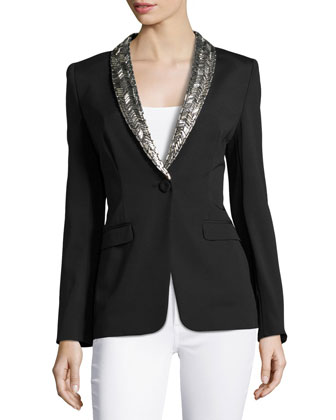 Embellished Lapel Single-Button Jacket, Black