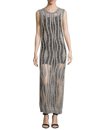 Sleeveless Muscle Gown w/Camisole, Black/Heather Gray