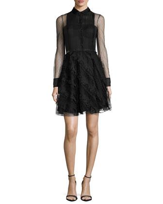 Point D'Esprit Long-Sleeve Ruffled Dress