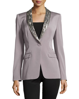 Embellished Lapel Single-Button Jacket, Platinum