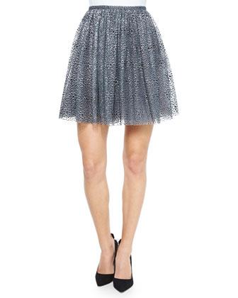 Pleated Metallic Flocked Skirt