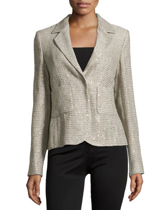 Long-Sleeve Metallic Woven Blazer, Platinum