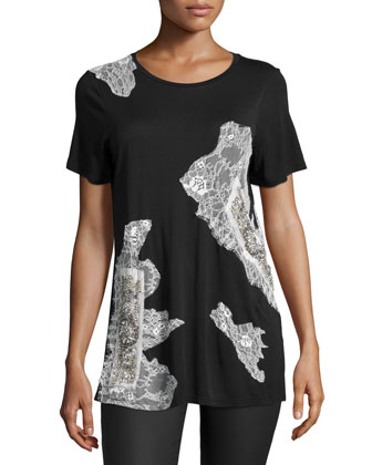 Short-Sleeve Embellished Tee, Black/Swan