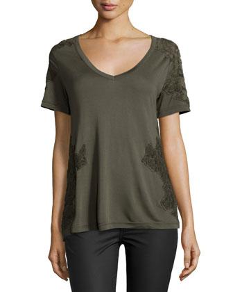 Short-Sleeve V-Neck Tee W/Mesh Applique, Military