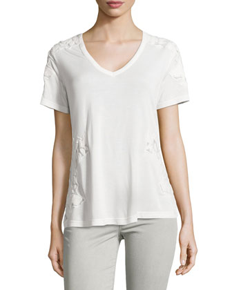 Short-Sleeve Mesh-Applique Top, Swan