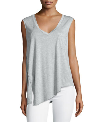 V-Neck Asymmetric-Hem Tank, Light Heather Gray