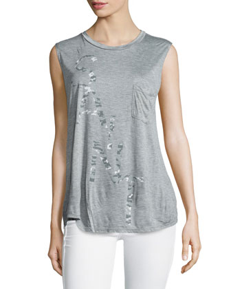 Saint-Graphic Jewel-Neck Muscle Tank, Light Heather Gray
