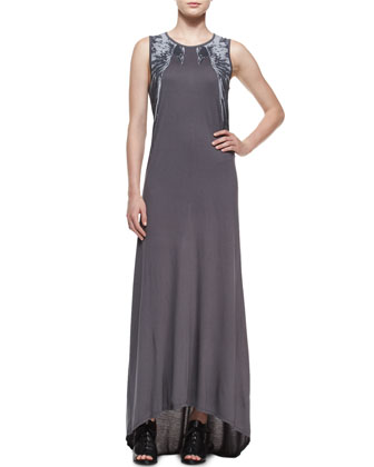 Round-Neck Muscle Maxi Dress W/Ravens, Coal